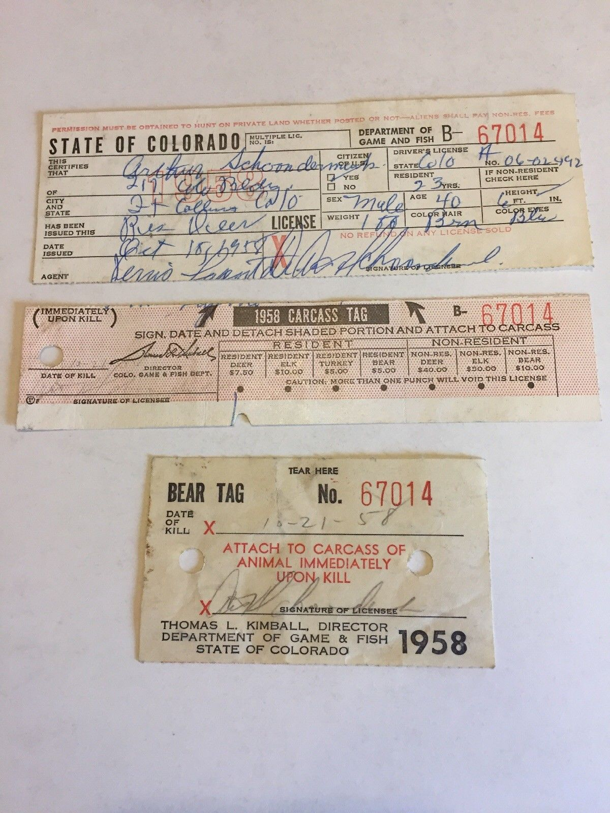 1958 state of colorado resident deer hunting license 67014 for Fishing license colorado