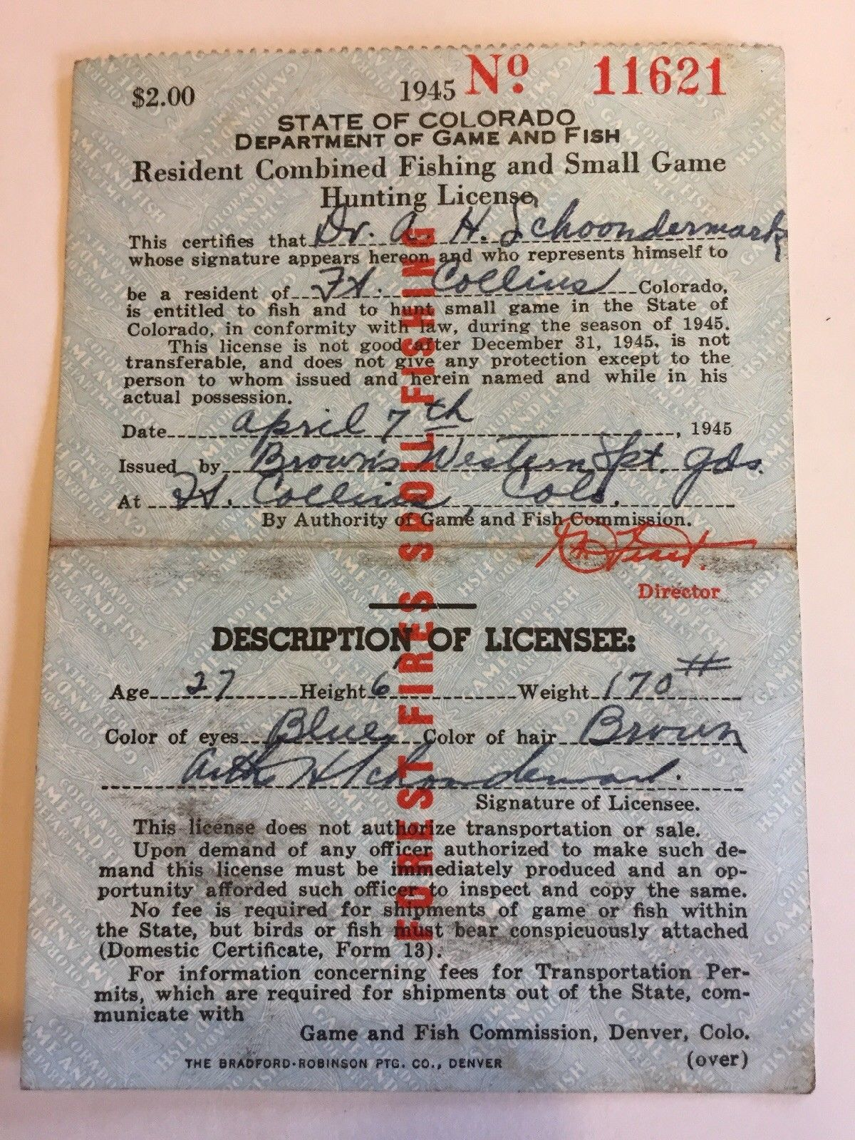 Colorado department of game and fish hunting license 1945 for Department of fish and game