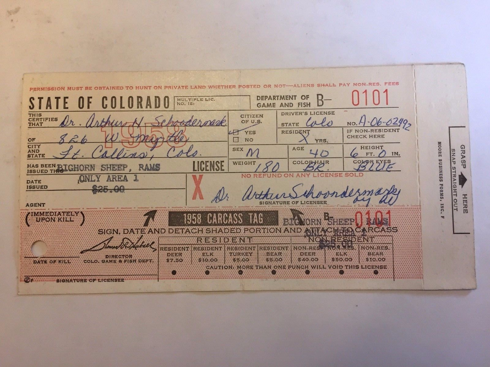 1958 state of colorado bighorn sheep hunting license