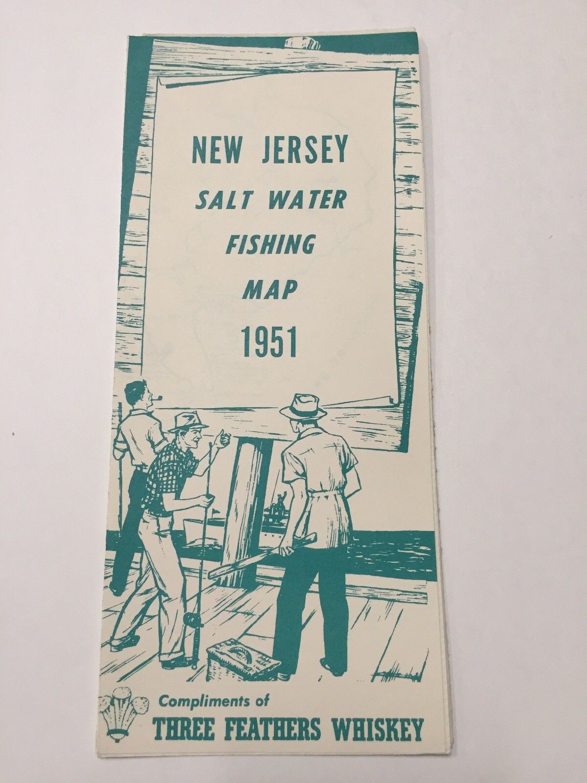 New jersey salt water fishing map 1951 three feathers for Saltwater fishing license nj