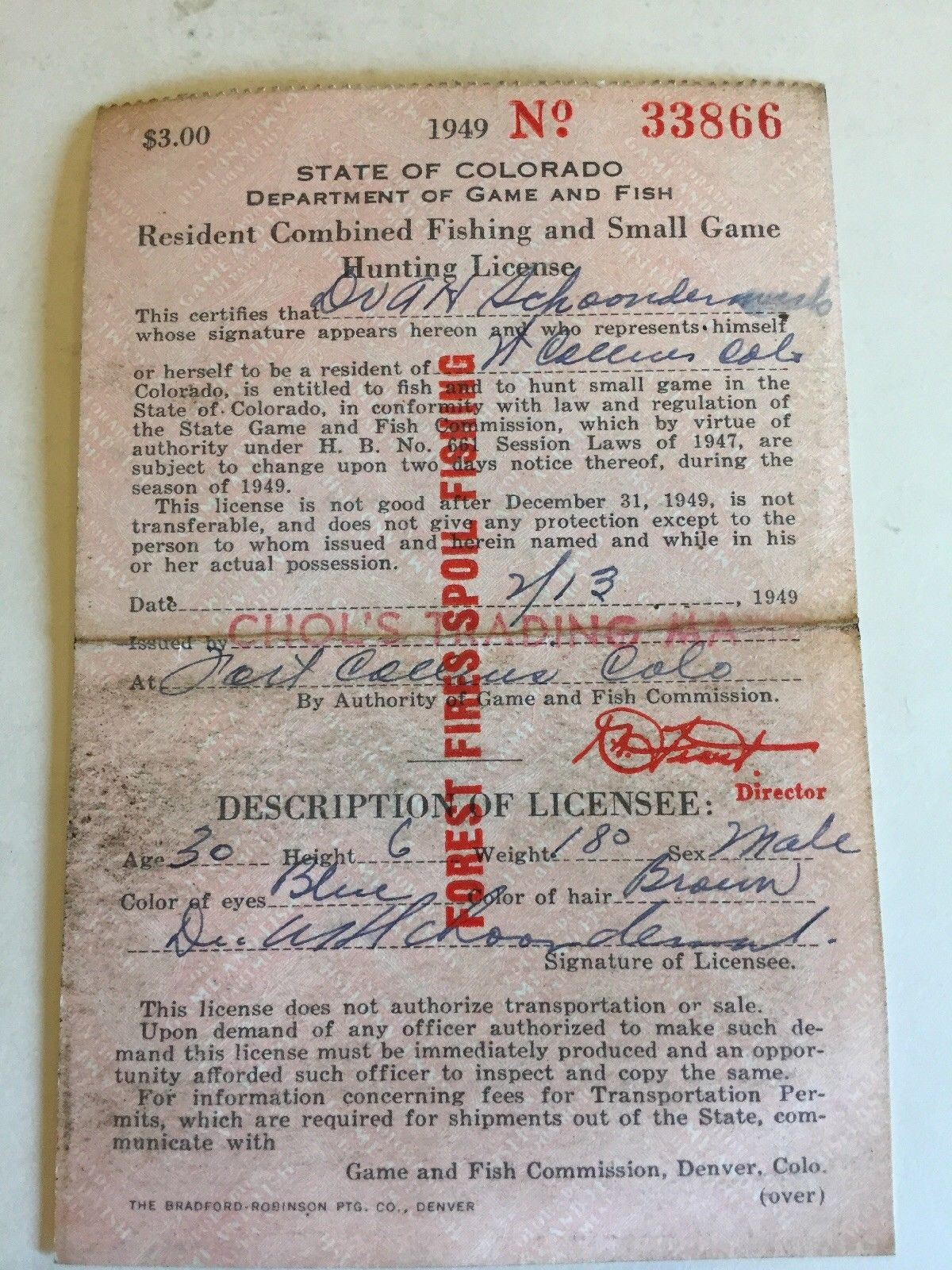1949 state of colorado combine fishing small game hunting for Hunting fishing license